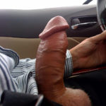 guy driving carsemi erect fat dick