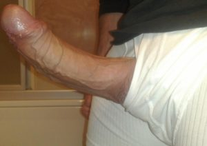 hard white cock sticking out of underwear