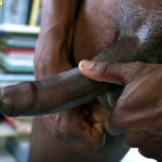 long shaven black dick covered by foreskin